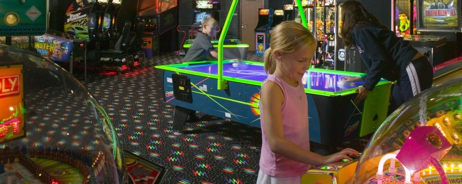 Girl playing in the arcade