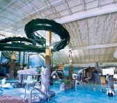 Large water slide with pool beneath